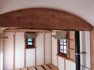 Hut Interior Showing Roof Truss